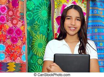 adolescente, morena, tenencia, latín, computador portatil, ...