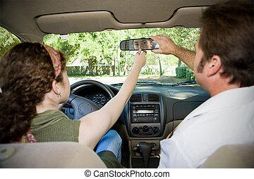adolescente, motorista, ajustar, -, espelho