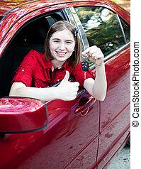adolescente, motorista, -, polegares cima