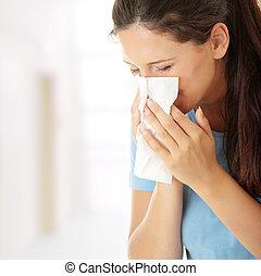 adolescente, mujer, con, alergia, o, frío