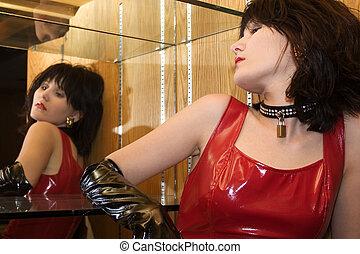 adolescente, mujer, espejo