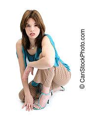 adolescente, mujer hispana