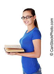adolescente, mujer, libro, lectura