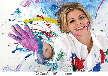 adolescente, mujer, pintura