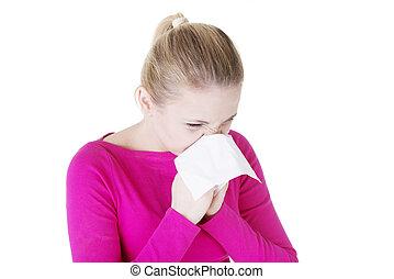 adolescente, mulher, com, alergia