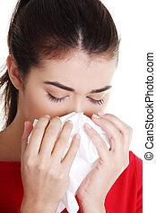 adolescente, mulher, com, alergia, ou, gelado