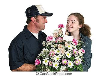 adolescente niña, amores, flores