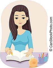 adolescente niña, biblia, diario, devoción, ilustración