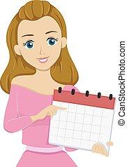 adolescente niña, calendario