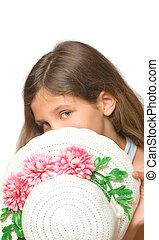 adolescente niña, con, sombrero