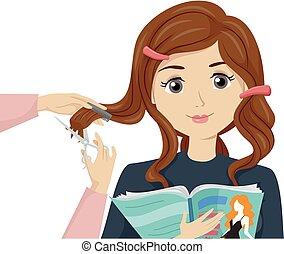 adolescente niña, corte de pelo, salón, ilustración