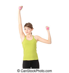 adolescente niña, ejercitar