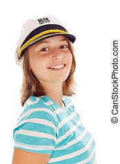 adolescente niña, en, captain's, sombrero