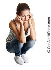 adolescente niña, en, depresión