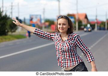 adolescente niña, excursionismo, tirón