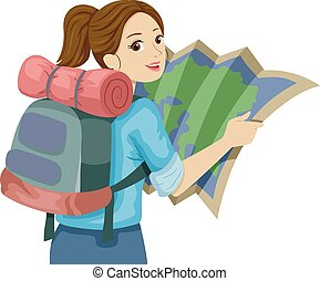 adolescente niña, guía, viaje, mapa