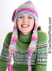 adolescente niña, invierno