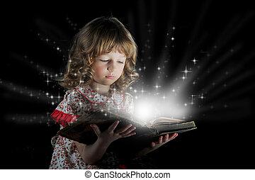 adolescente niña, lectura, el, book.