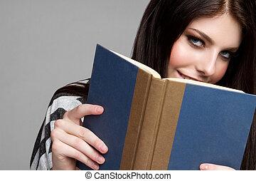 adolescente niña, lectura