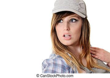 adolescente niña, llevando, sombrero del béisbol