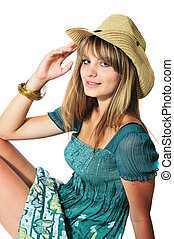 adolescente niña, llevando, sombrero