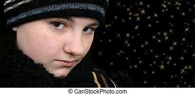 adolescente niña, negro