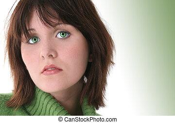 adolescente niña, ojos verdes