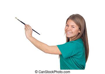 adolescente niña, pintura, algo, con, un, cepillo