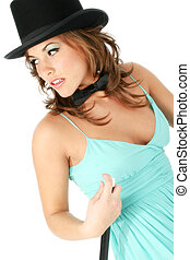 adolescente niña, sombrero superior