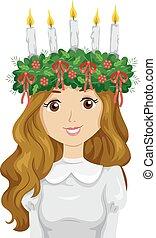 adolescente niña, suecia, santo lucia, corona, ilustración