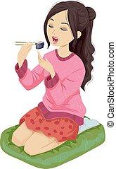 adolescente niña, sushi, arrodíllese