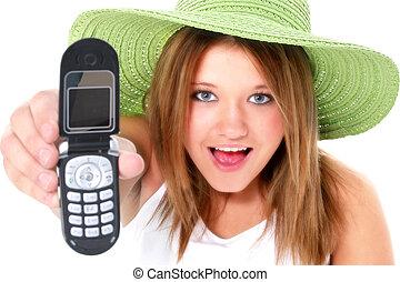 adolescente niña, teléfono celular