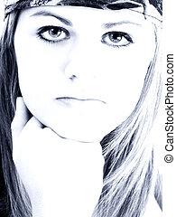 adolescente niña, tonos azules