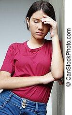adolescente niña, y, depresión