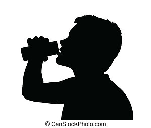adolescente niño, bebida, silueta, lata