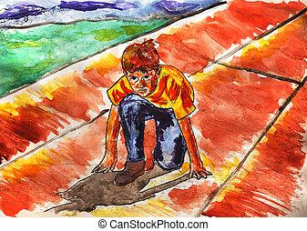 Adolescente, niño,  C, juegos, asfalto, verano, corredor, Atleta, deportes, Funcionamiento