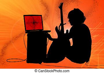 adolescente niño, silueta, guitarra, colorido