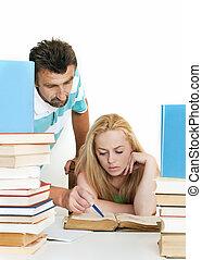 adolescente, one., uno, porzione, studente, insegnante
