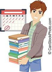 adolescente, orario, revisione, ragazzo, calendario, libro