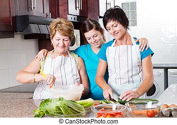 adolescente, osservare, cottura, nonna, madre, ragazza