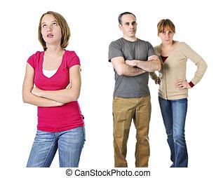 adolescente, pais, problema, menina
