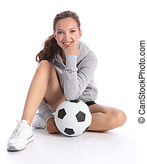 adolescente, palla, giocatore football, ragazza, sedere, felice