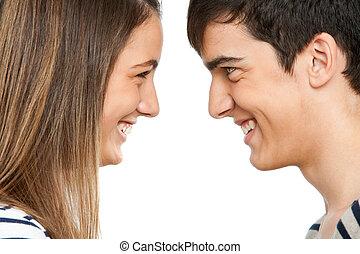 adolescente par, entretela, sonreír., otro, cada