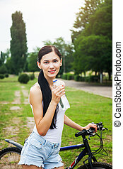 adolescente, park., vélo