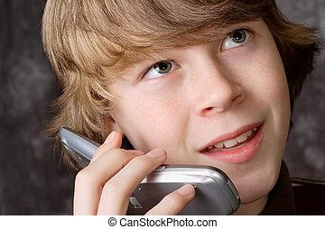 adolescente, parlare, telefono cellulare