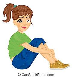 adolescente, pavimento, giovane ragazza, seduta