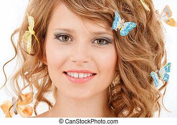 adolescente, pelo, mariposas, niña, feliz