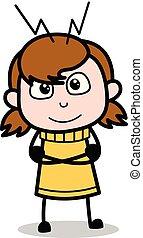 adolescente, pensando, -, ilustração, criativo, vetorial, retro, menina, caricatura