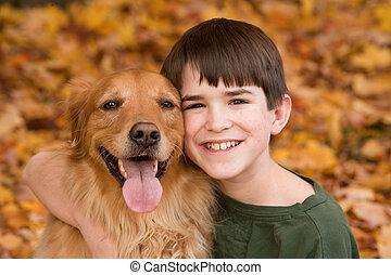 adolescente, perro