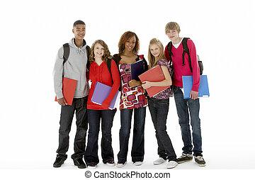 adolescente, pieno, studenti, lunghezza, cinque, ritratto, studio